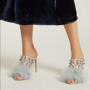 Sophia Webster Iris crystal feather-trimmed mule